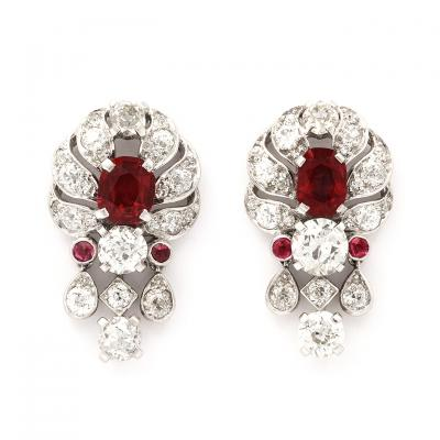 1930s Pigeon Blood Ruby and Diamond Earrings