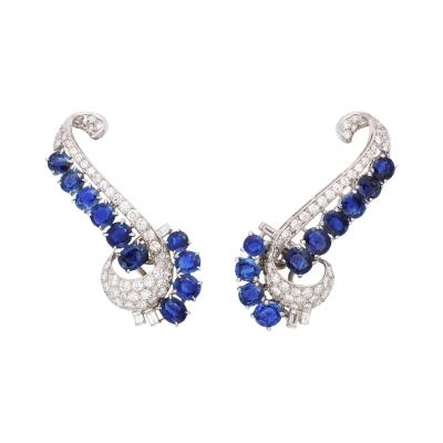 1930s Sapphire and Diamond Ear Climber Earrings