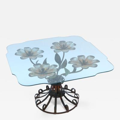 1930s Side Table with Metal Flower Base and Glass Top