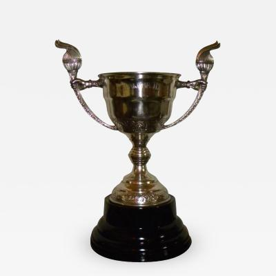 1930s Silver Plate Large Trophy Love Cup Repouss