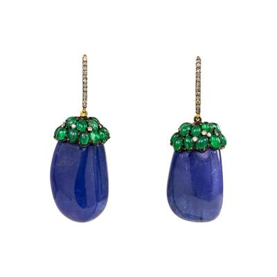 1930s Tanzanite and Emerald Earrings with Diamond Tops