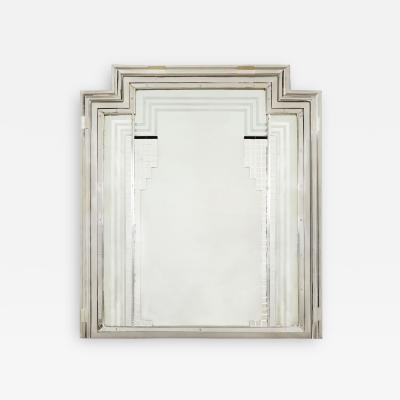 1930s large Art Deco chrome geometric mirror