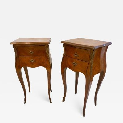 1940 French Louis XV Revival Pair of Inlaid Rosewood Walnut 2 Drawer Side Tables