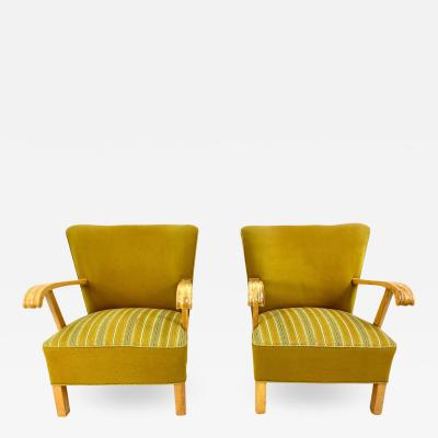 1940 s Danish Beechwood Lounge Chairs a Pair