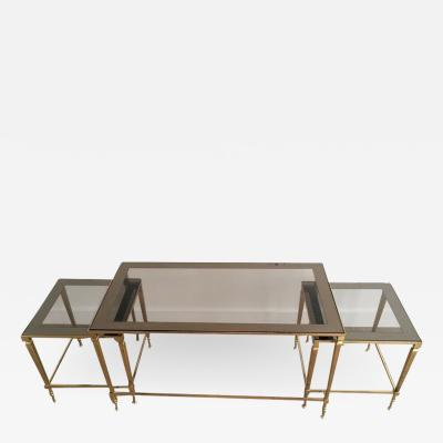 1940S NESTING COFFEE TABLE WITH SMOKED PORTRAIT GLASS