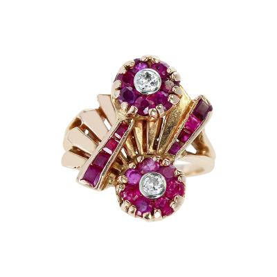 1940S RETRO STYLE RUBY AND DIAMOND FLORAL RING 14 KARAT YELLOW GOLD