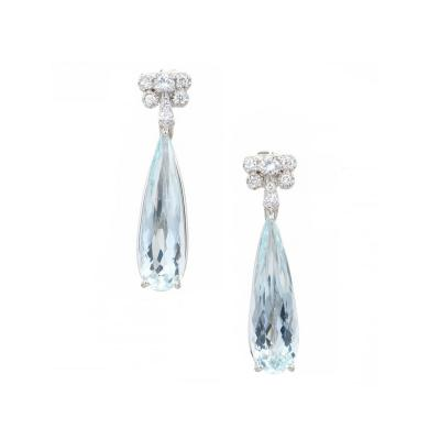 1940s 9 39 Carat Natural Pear Aqua Diamond Platinum Dangle Earrings