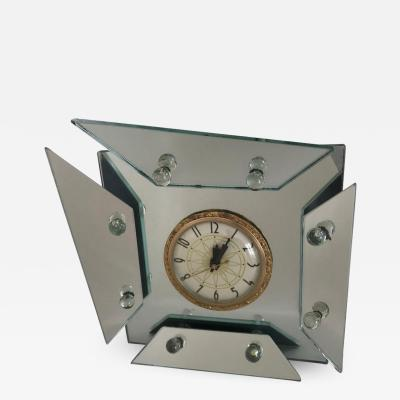 1940s Art Deco Asymmetric Faceted Mirrored Mantel or Table Clock