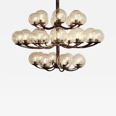 1940s Brass and Steel Chandelier