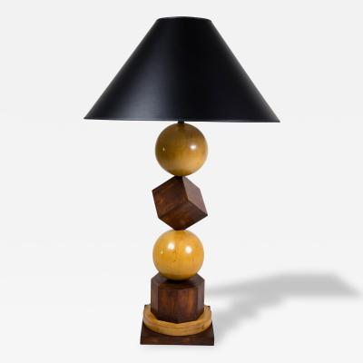 1940s French Balls Cubes Modernist Wood Lamp