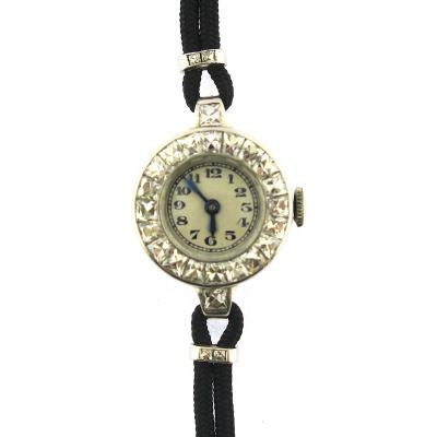 1940s French Cut Diamond Fabric Cord Platinum Watch