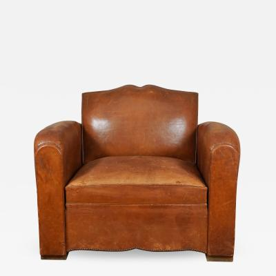 1940s French Leather Convertible Club Chair