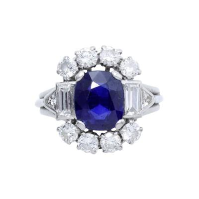 1940s French Sapphire Diamond Platinum Ring