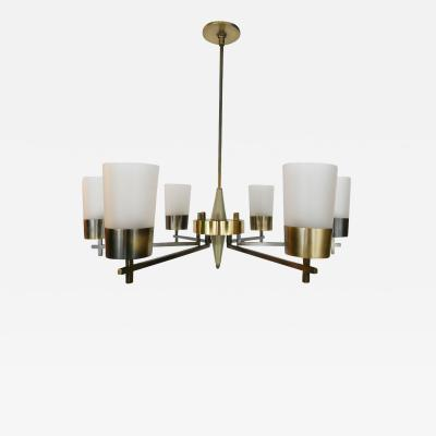 1940s Glass and Brass Chandelier
