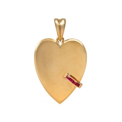 1940s Gold Heart Pendant with Ruby Accents