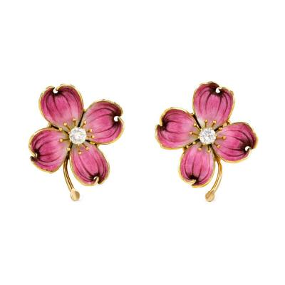 1940s Gold Pink Enamel and Diamond Dogwood Blossom Earrings