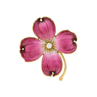 1940s Gold Pink Enamel and Diamond Dogwood Brooch