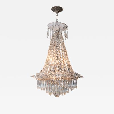1940s Hollywood Regency Cut Beveled Crystal Chandelier with Silvered Fittings
