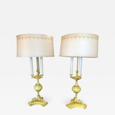 1940s Hollywood Regency Yellow Tole Bouillotte Lamps with Custom Shade a Pair