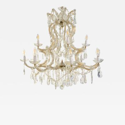 1940s Italian Antique Baroque Revival Crystal 12 Light Gilded Chandelier