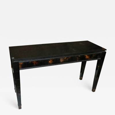 1940s Italian Black Lacquer and Horn Console Table with Marble Top