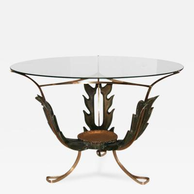 1940s Italian Carved Wood and Brass Cocktail Table