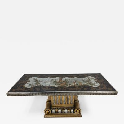 1940s Italian Chinoiserie Mirrored Top Coffee Table
