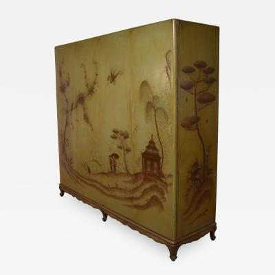 1940s Italian Four Doors Green Chinoiserie Lacquered Cupboard