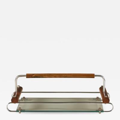 1940s Italian rectangular fruitwood cocktail tray
