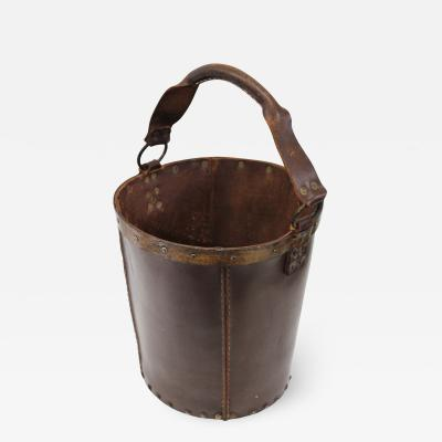 1940s Leather Waste Basket From Spain
