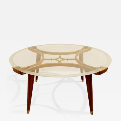 1940s Mid Century Walnut and Brass Coffee Table