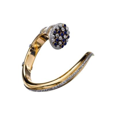1940s Ostertag Paris Sapphire Diamond Gold Bangle