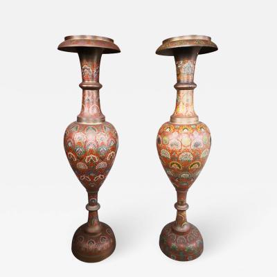 1940s Pair of Bronze Polychrome Enamelled Vases