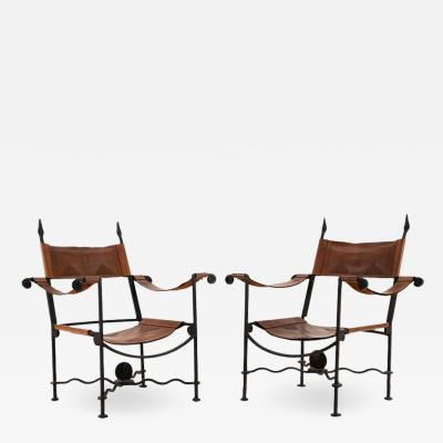 1940s Pair of Hand Forged Wrought Iron and Leather Chairs