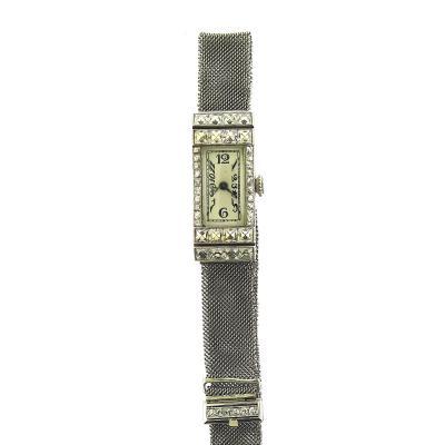 1940s Platinum Mesh Bracelet Watch French Cut Diamonds