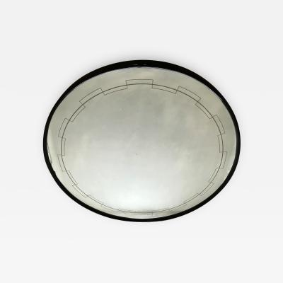 1940s Round Mirror with Geometric Decor