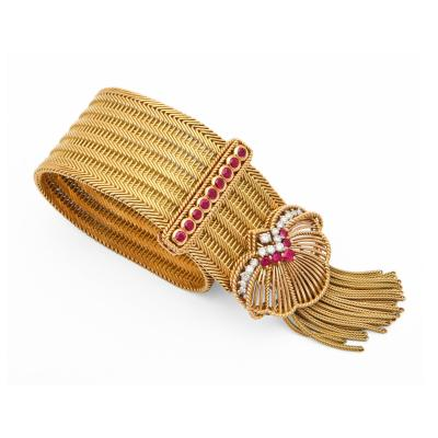 1940s Ruby Diamond Buckle Bracelet in 18K Gold