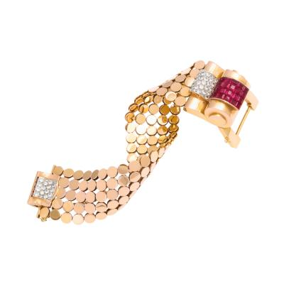 1940s Ruby Diamond and Gold Bracelet by Mauboussin