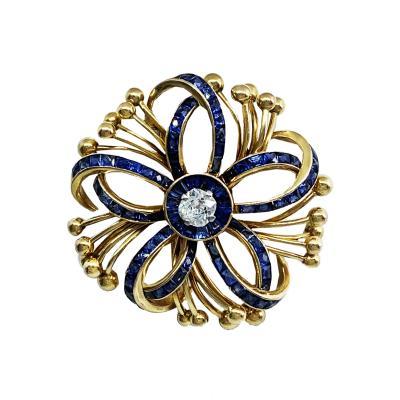 1940s Sapphire Diamond Pin