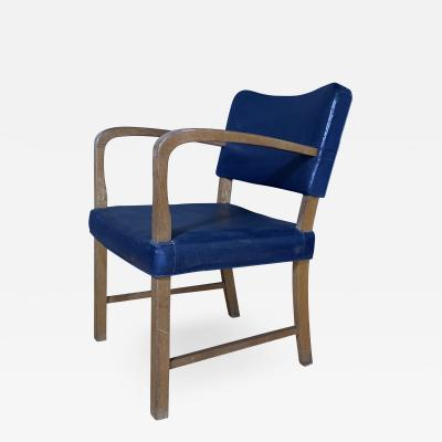1940s Stained Oak Armchair with Blue Skai Leather Upholstery