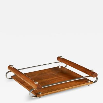 1940s square Italian fruitwood cocktail tray