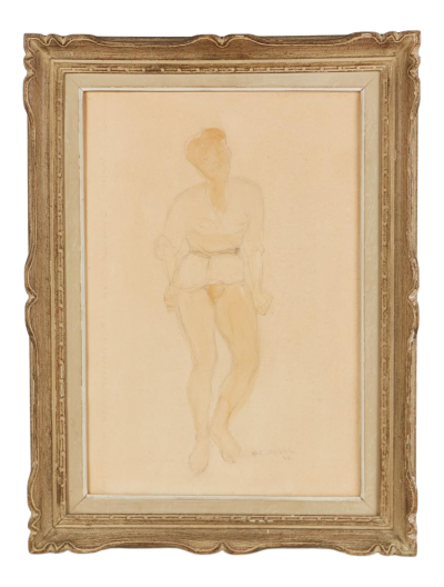 1946 Guy Charles Revol Watercolor on Paper the Artists Model