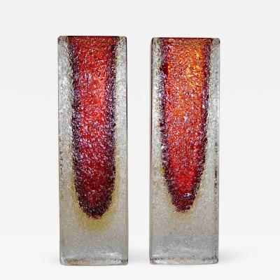 1950 Italian Pair of Organic Crystal Yellow Red Murano Art Glass Flower Vases