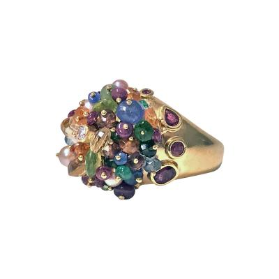 1950 s French 18K Multi Gem Tutti Frutti Dome Cocktail Ring Heavy Quality