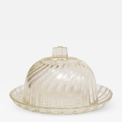 1950 s French glass cheese dome and base