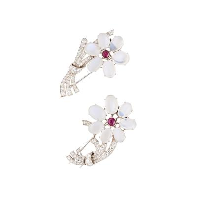 1950s American Fantasy Moonstone Ruby and Diamond Clips