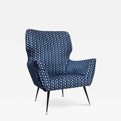 1950s Armchair Blue Gold Black White Velvet Upholstery By Gigi Radice