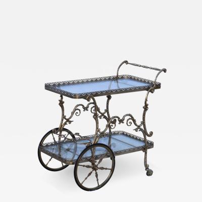 1950s Baroque Style Brass Bar Cart