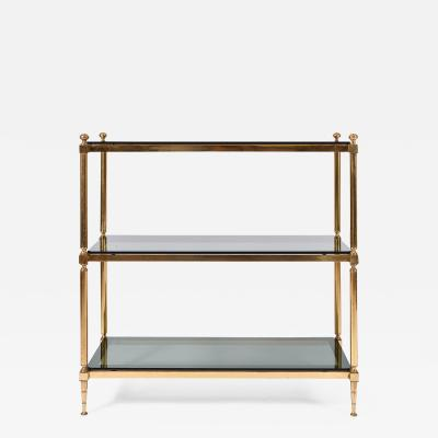 1950s Brass and Smoked Glass Top Console Table or Etagere