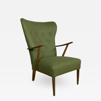 1950s Danish Highback Lounge Chair New Felted Wool Upholstery